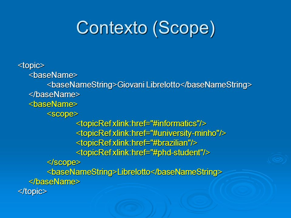 Contexto (Scope) <topic><baseName> Giovani Librelotto Giovani Librelotto </baseName><baseName><scope> </scope><baseNameString>Librelotto</baseNameStri
