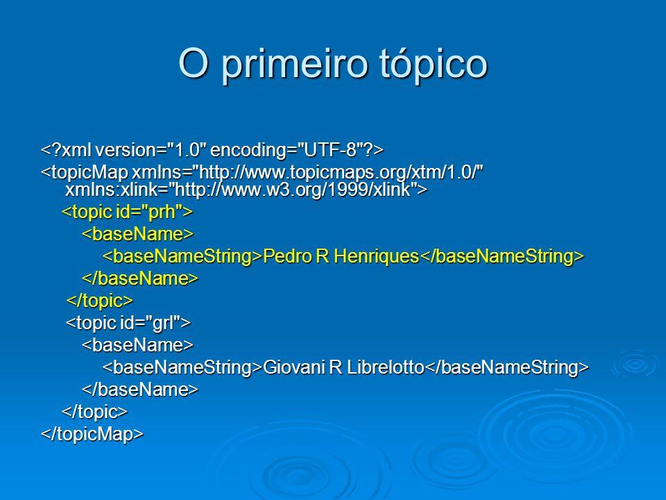 O primeiro tópico Pedro R Henriques Pedro R Henriques Giovani R Librelotto Giovani R Librelotto </topicMap>