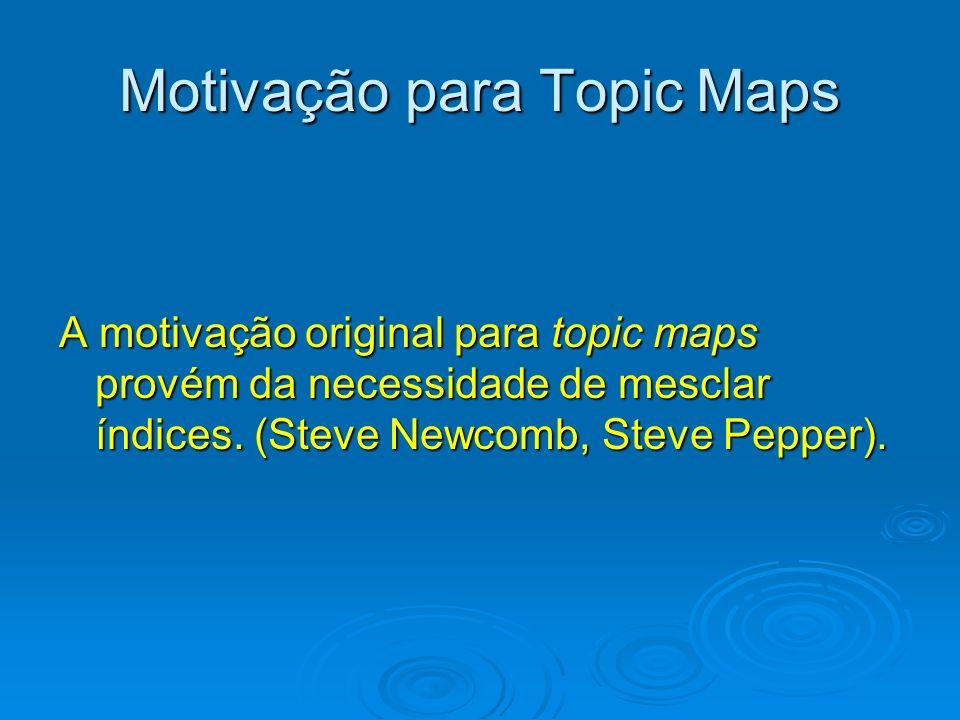 Motivação para Topic Maps A motivação original para topic maps provém da necessidade de mesclar índices. (Steve Newcomb, Steve Pepper).