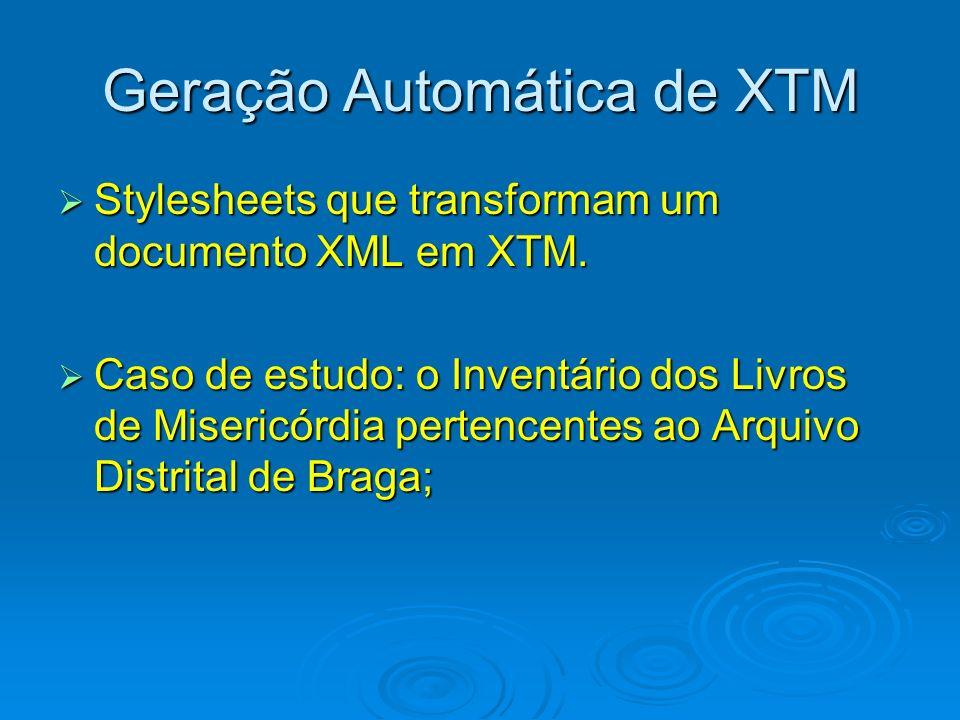 Geração Automática de XTM Stylesheets que transformam um documento XML em XTM. Stylesheets que transformam um documento XML em XTM. Caso de estudo: o
