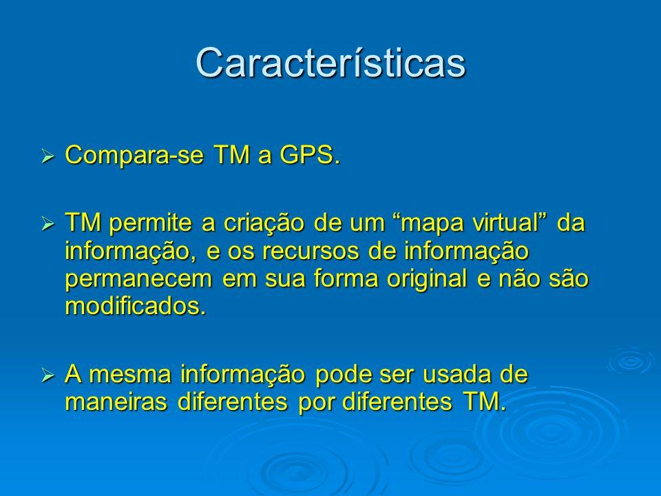Características Compara-se TM a GPS. Compara-se TM a GPS. TM permite a criação de um mapa virtual da informação, e os recursos de informação permanece