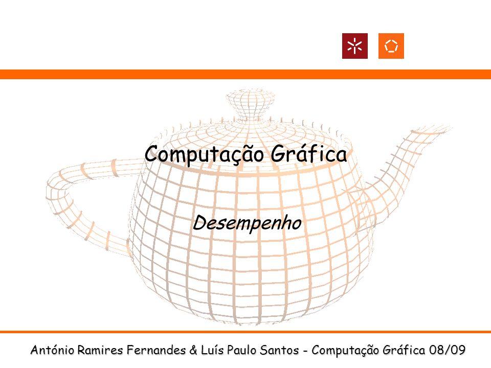 DI-UM Computação Gráfica 08/09 12 Display Lists: Exemplo Display List com todos os bonecos de neve Setup glNewList(loopDL,GL_COMPILE); for(int i = -3; i < 3; i++) for(int j=-3; j < 3; j++) { glPushMatrix(); glTranslatef(i*10.0,0,j * 10.0); drawSnowMan(); glPopMatrix(); } glEndList(); Utilização glCallList(loopDL);