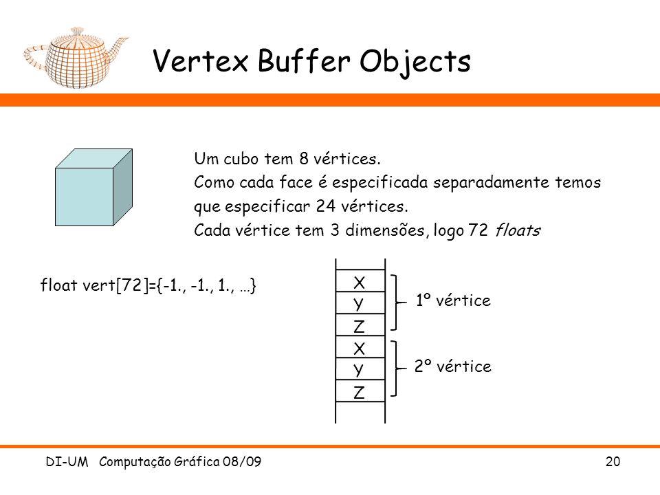 Vertex Buffer Objects DI-UM Computação Gráfica 08/09 20 Um cubo tem 8 vértices.