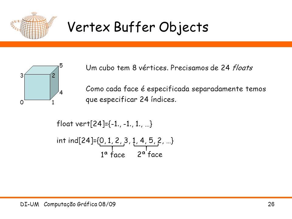 Vertex Buffer Objects DI-UM Computação Gráfica 08/09 26 Um cubo tem 8 vértices.