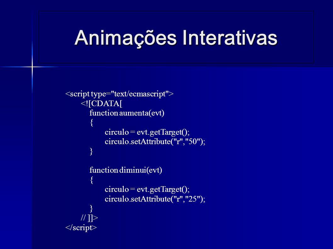 Animações Interativas <![CDATA[ function aumenta(evt) { circulo = evt.getTarget(); circulo.setAttribute( r , 50 ); } function diminui(evt) { circulo = evt.getTarget(); circulo.setAttribute( r , 25 ); } // ]]>
