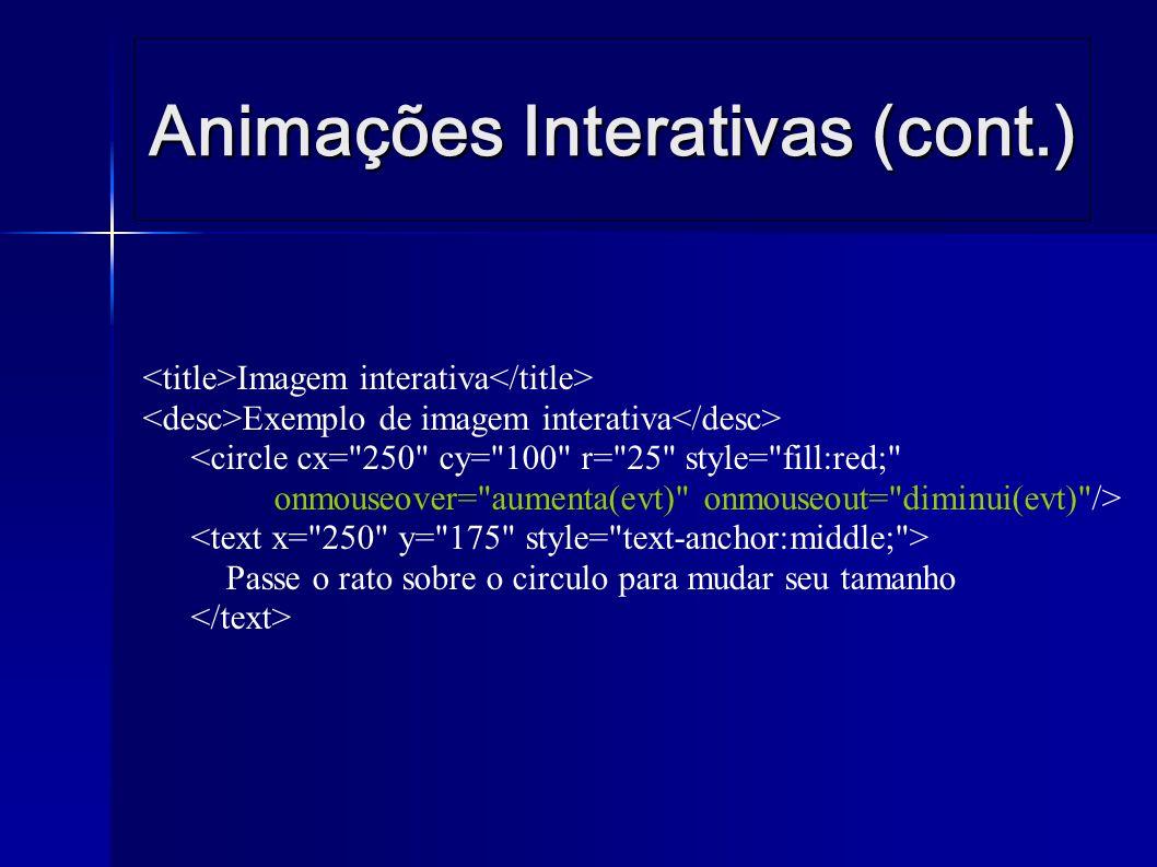 Animações Interativas (cont.) Imagem interativa Exemplo de imagem interativa <circle cx= 250 cy= 100 r= 25 style= fill:red; onmouseover= aumenta(evt) onmouseout= diminui(evt) /> Passe o rato sobre o circulo para mudar seu tamanho
