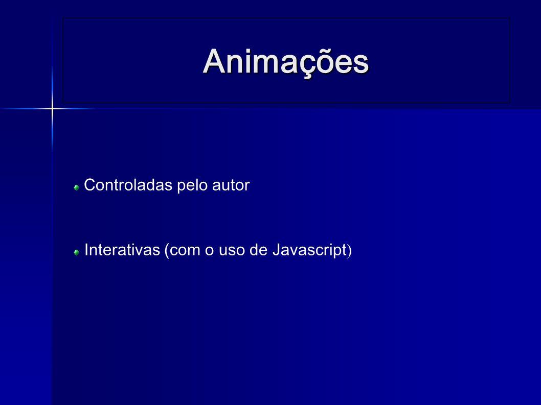 Animações controladas pelo autor … <animate attributeName= cx attributeType= XML from= 110 to= 340 begin= 0s dur= 5s fill= freeze /> …