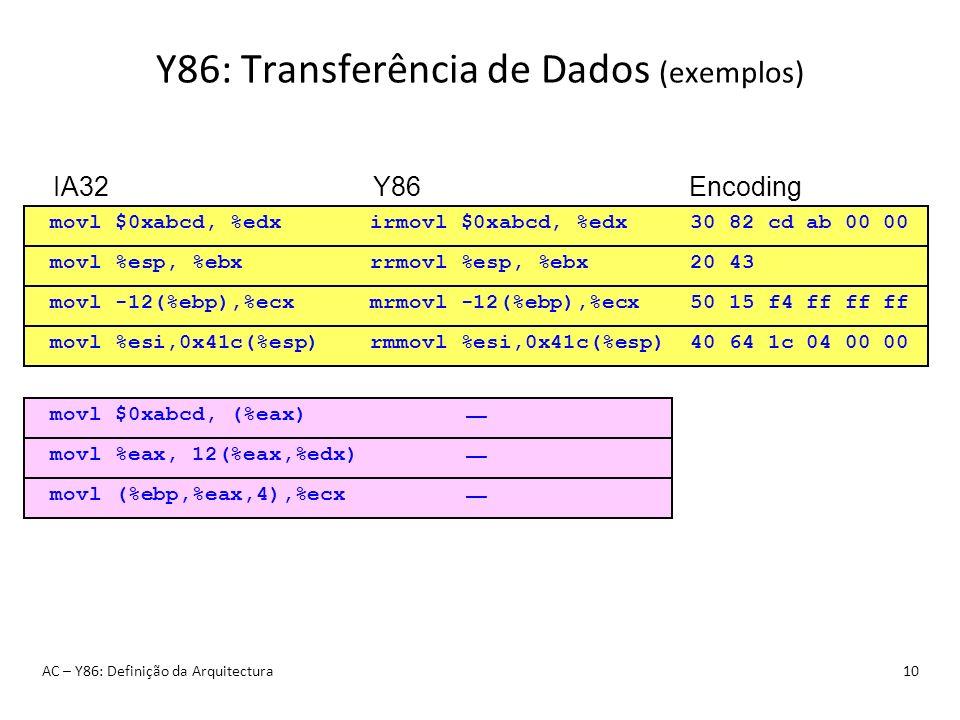 Y86: Transferência de Dados (exemplos) AC – Y86: Definição da Arquitectura10 irmovl $0xabcd, %edxmovl $0xabcd, %edx30 82 cd ab 00 00 IA32Y86Encoding r