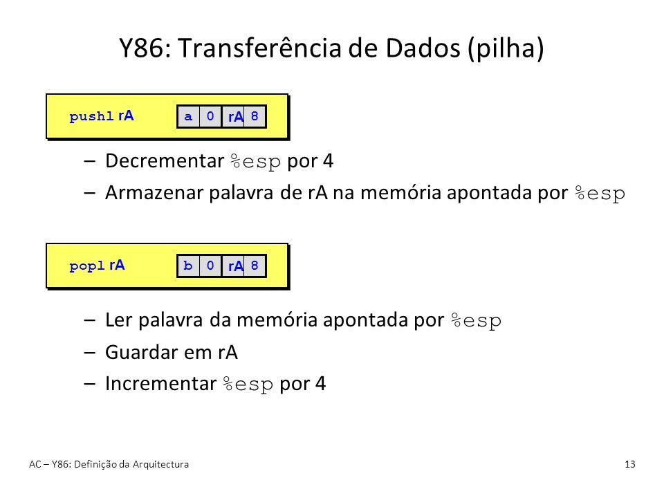 Y86: Transferência de Dados (pilha) AC – Y86: Definição da Arquitectura13 –Decrementar %esp por 4 –Armazenar palavra de rA na memória apontada por %es