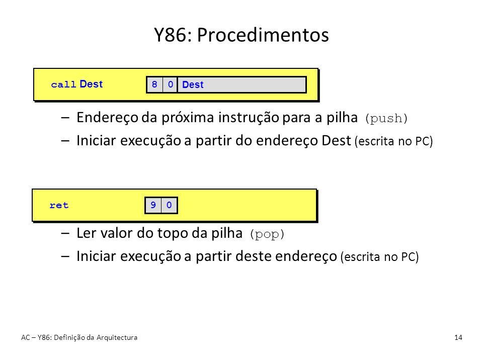 Y86: Procedimentos AC – Y86: Definição da Arquitectura14 –Endereço da próxima instrução para a pilha (push) –Iniciar execução a partir do endereço Des