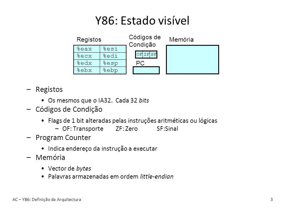 Y86: Estado visível AC – Y86: Definição da Arquitectura3 %eax %ecx %edx %ebx %esi %edi %esp %ebp Registos Códigos de Condição PC Memória OFZFSF –Regis