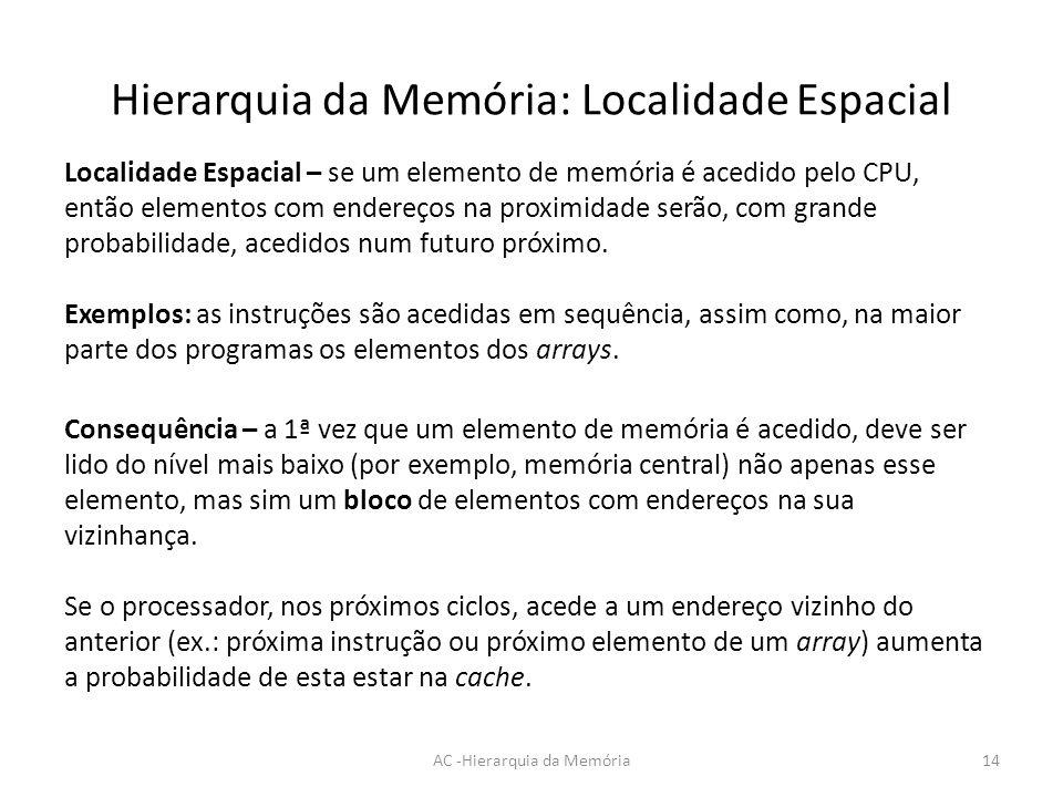 Hierarquia da Memória: Localidade Espacial AC -Hierarquia da Memória14 Localidade Espacial – se um elemento de memória é acedido pelo CPU, então eleme