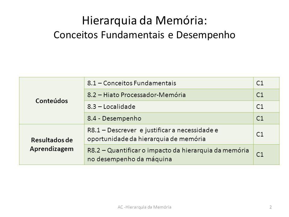 Hierarquia da Memória: Conceitos Fundamentais e Desempenho AC -Hierarquia da Memória2 Conteúdos 8.1 – Conceitos Fundamentais C1 8.2 – Hiato Processado