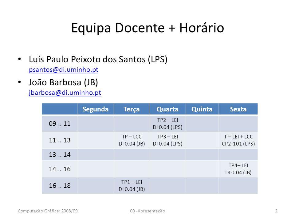 Equipa Docente + Horário Luís Paulo Peixoto dos Santos (LPS) psantos@di.uminho.pt psantos@di.uminho.pt João Barbosa (JB) jbarbosa@di.uminho.pt jbarbos