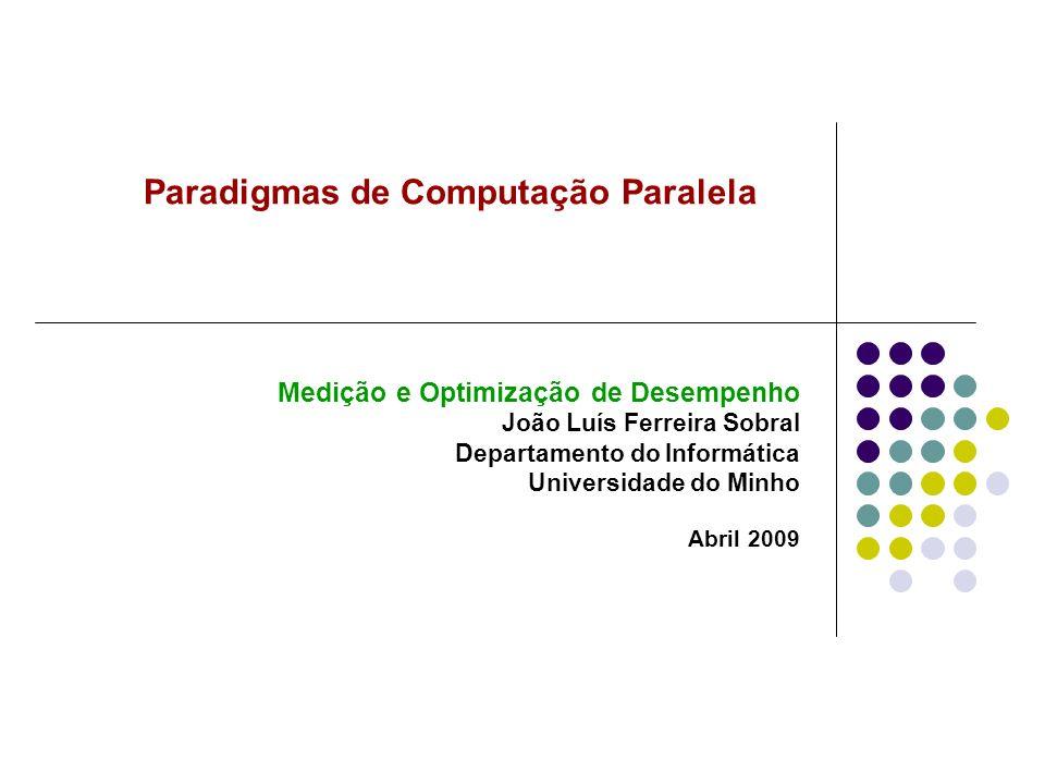 Paradigmas de Computação Paralela Medição e Optimização de Desempenho João Luís Ferreira Sobral Departamento do Informática Universidade do Minho Abri