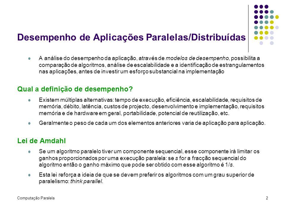 Computação Paralela2 Desempenho de Aplicações Paralelas/Distribuídas A análise do desempenho da aplicação, através de modelos de desempenho, possibili