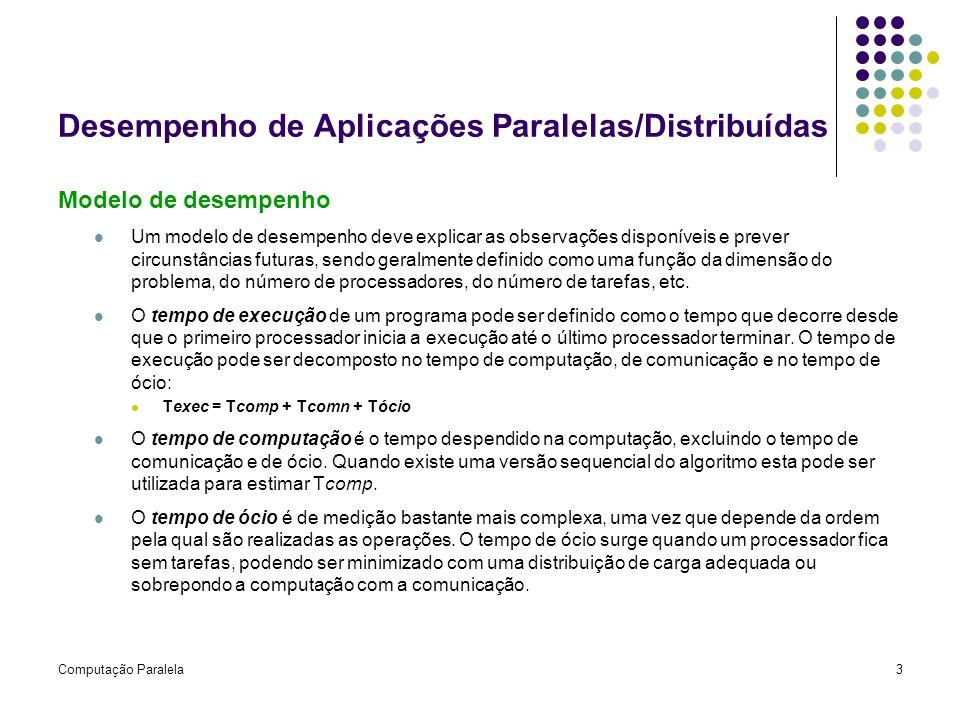 Computação Paralela3 Desempenho de Aplicações Paralelas/Distribuídas Modelo de desempenho Um modelo de desempenho deve explicar as observações disponí