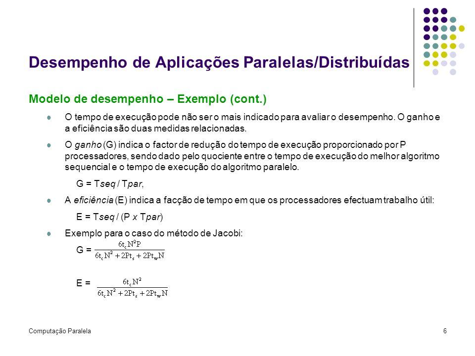 Computação Paralela6 Desempenho de Aplicações Paralelas/Distribuídas Modelo de desempenho – Exemplo (cont.) O tempo de execução pode não ser o mais in