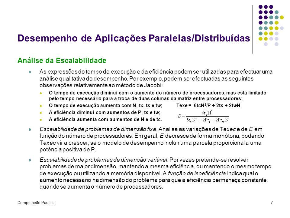 Computação Paralela7 Desempenho de Aplicações Paralelas/Distribuídas Análise da Escalabilidade As expressões do tempo de execução e da eficiência pode