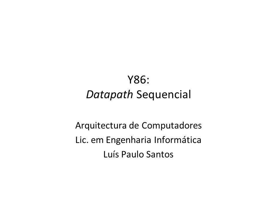 Y86: Execute AC – Y86: Datapath sequencial32 Unidades –ALU Implementa 4 funções Gera códigos de condição –CC Registo com 3 bits –bcond Calcular se o salto é tomado (Bch) Lógica de Controlo –Set CC: Alterar CC.
