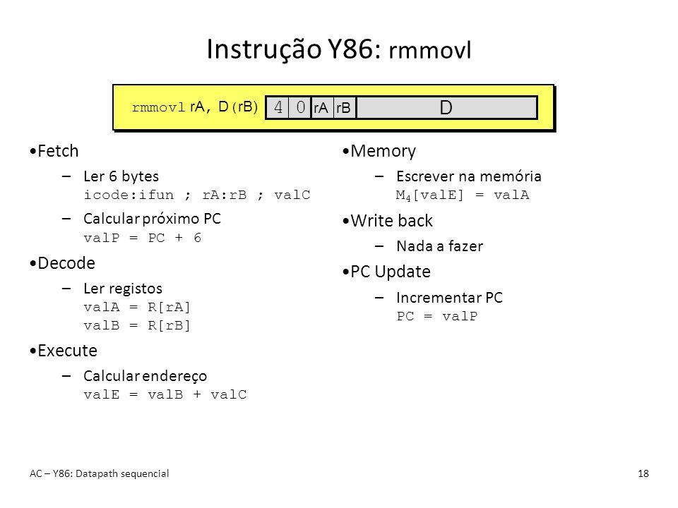 Instrução Y86: rmmovl AC – Y86: Datapath sequencial18 Fetch –Ler 6 bytes icode:ifun ; rA:rB ; valC –Calcular próximo PC valP = PC + 6 Decode –Ler regi