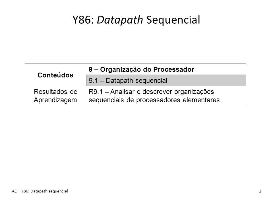 AC – Y86: Datapath sequencial13 Y86: Organização Sequencial Atenção à temporização: 1.Busca (início do ciclo) 2.Descodificação 3.Execução 4.Leitura da Memória 5.Escritas TODAS as escritas ocorrem SIMULTANEAMENTE no FIM do CICLO Escrita nos CC Escrita na memória Escrita nos regs.