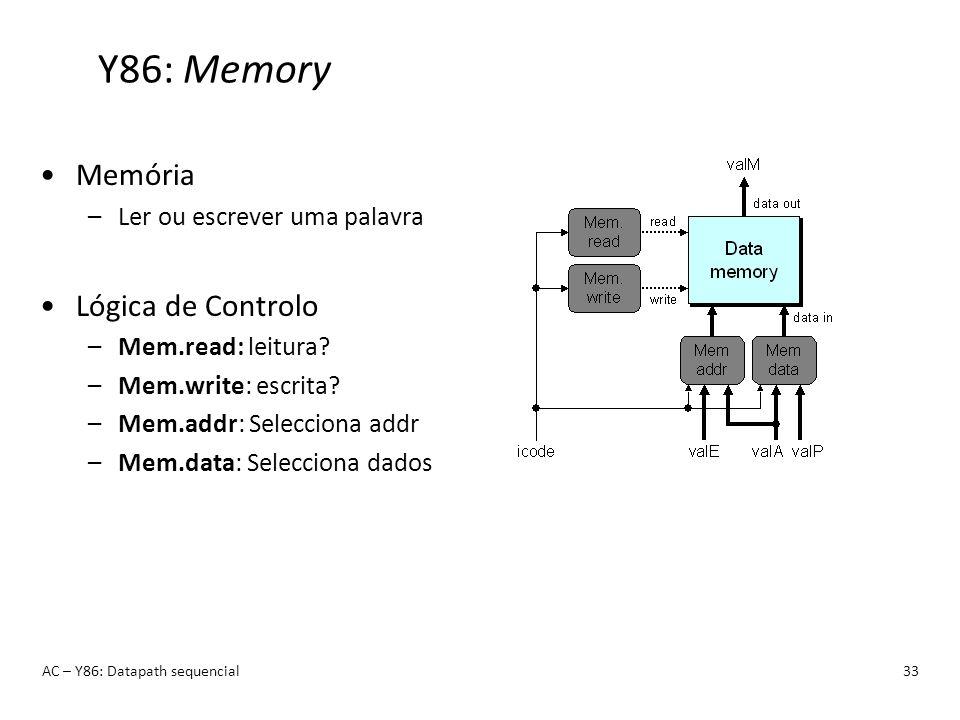 Y86: Memory AC – Y86: Datapath sequencial33 Memória –Ler ou escrever uma palavra Lógica de Controlo –Mem.read: leitura? –Mem.write: escrita? –Mem.addr