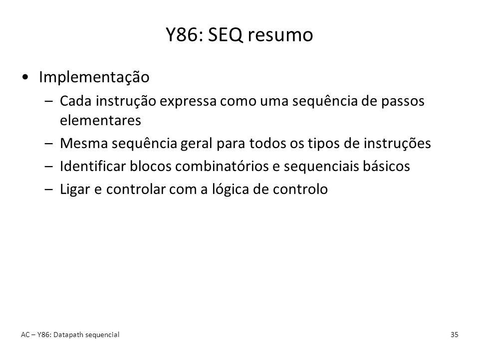 Y86: SEQ resumo AC – Y86: Datapath sequencial35 Implementação –Cada instrução expressa como uma sequência de passos elementares –Mesma sequência geral
