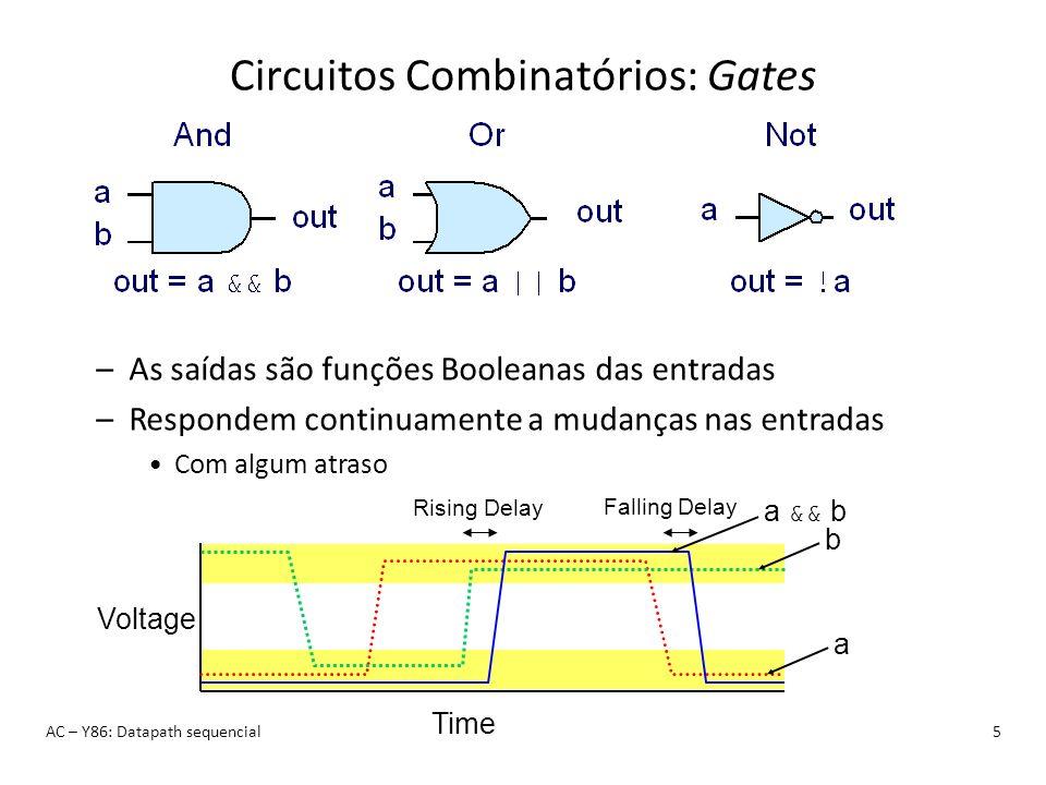 Instrução Y86: ret AC – Y86: Datapath sequencial26 ret 90XX return: Fetch –Ler 1 byte icode:ifun –Calcular próximo PC valP = PC + 1 Decode –Ler registo valA = R[%esp] valB = R[%esp] Execute –Calcular novo topo da pilha valE = valB + 4 Memory –Ler end.