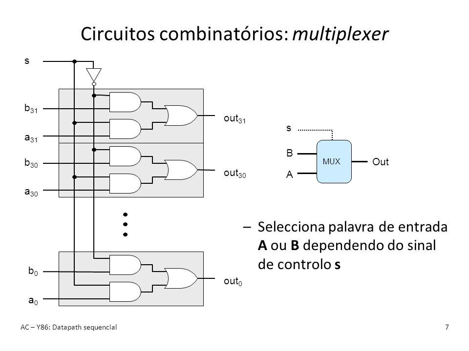 Circuitos combinatórios: ALU AC – Y86: Datapath sequencial8 OF ZF CF – Lógica Combinatória Responde continuamente às entradas –Sinais de controlo (s1,s0) seleccionam função a computar –Correspondem às 4 instruções lógico-aritméticas do Y86 –Também calcula os códigos de condição ALUALU Y X Se s1,s0 == 00 (0) então X + Y Se s1,s0 == 01 (1) então X - Y Se s1,s0 == 10 (2) então X & Y Se s1,s0 == 11 (3) então X   Y s1 A B s0