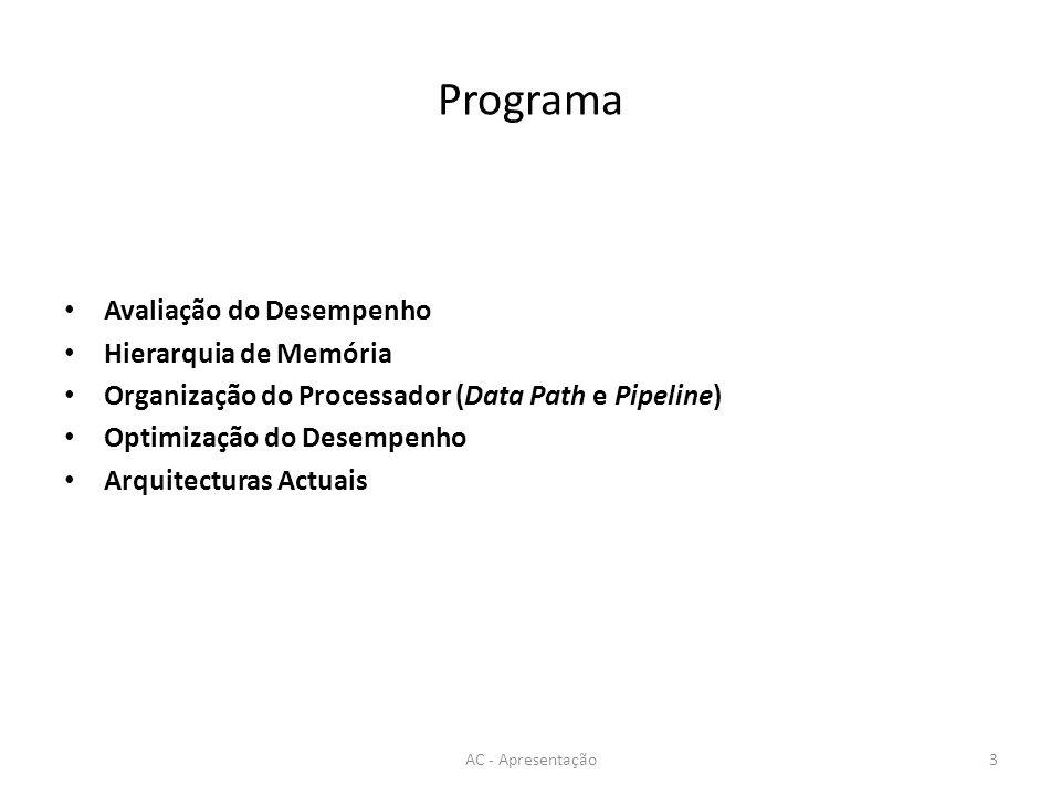 Programa Avaliação do Desempenho Hierarquia de Memória Organização do Processador (Data Path e Pipeline) Optimização do Desempenho Arquitecturas Actuais AC - Apresentação3