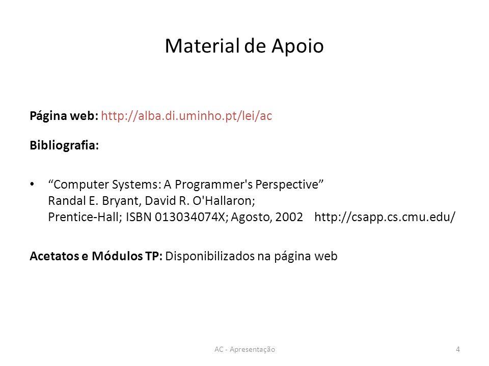 Material de Apoio Página web: http://alba.di.uminho.pt/lei/ac Bibliografia: Computer Systems: A Programmer s Perspective Randal E.