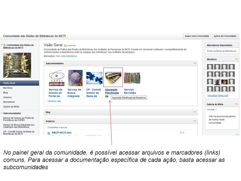 No painel geral da comunidade, é possível acessar arquivos e marcadores (links) comuns. Para acessar a documentação específica de cada ação, basta ace