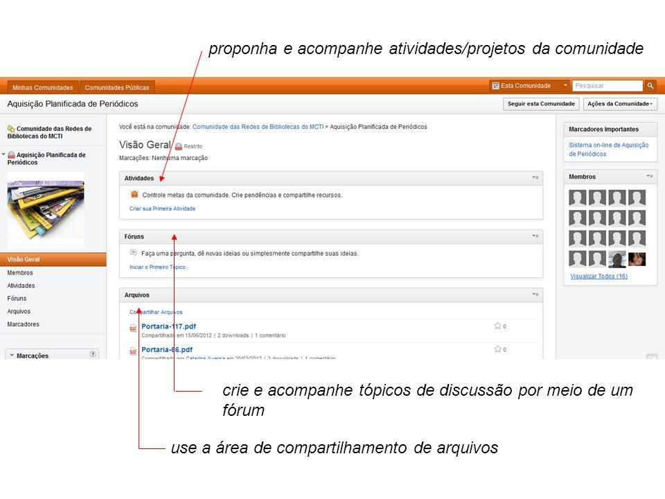 proponha e acompanhe atividades/projetos da comunidade crie e acompanhe tópicos de discussão por meio de um fórum use a área de compartilhamento de arquivos