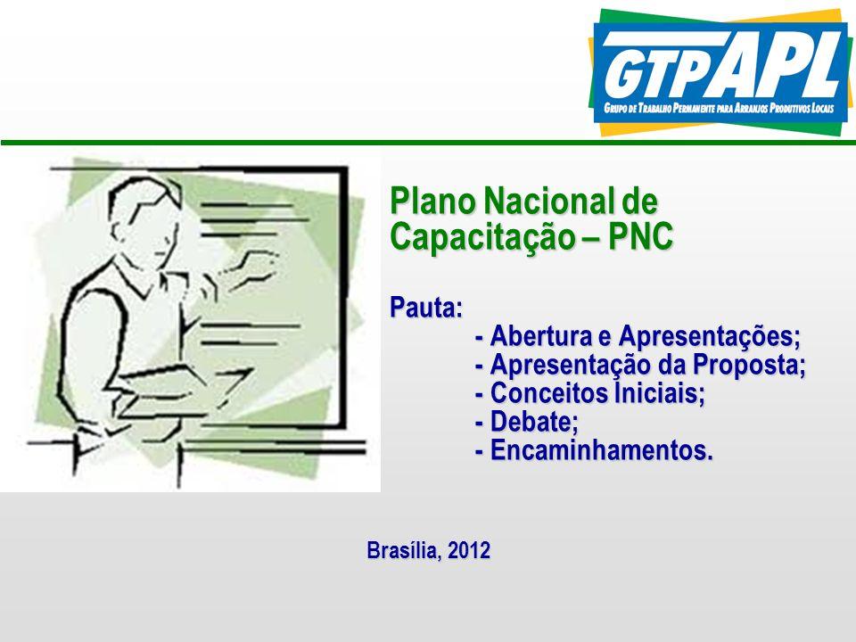 Plano Nacional de Capacitação – PNC Pauta: - Abertura e Apresentações; - Apresentação da Proposta; - Conceitos Iniciais; - Debate; - Encaminhamentos.