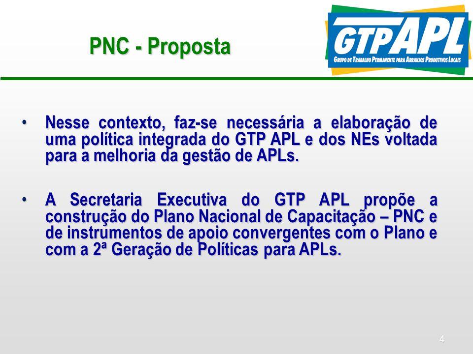 4 PNC - Proposta Nesse contexto, faz-se necessária a elaboração de uma política integrada do GTP APL e dos NEs voltada para a melhoria da gestão de AP