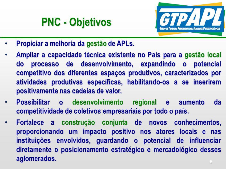 5 PNC - Objetivos Propiciar a melhoria da gestão de APLs. Propiciar a melhoria da gestão de APLs. Ampliar a capacidade técnica existente no País para
