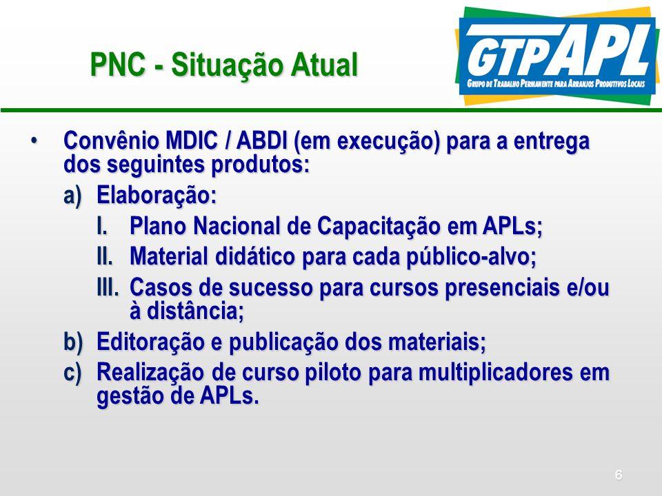 7 PNC - Elaboração Todos os produtos do Convênio MDIC – ABDI serão elaborados a partir das contribuições do Comitê Temático de Capacitação instalado no âmbito do GTP APL.