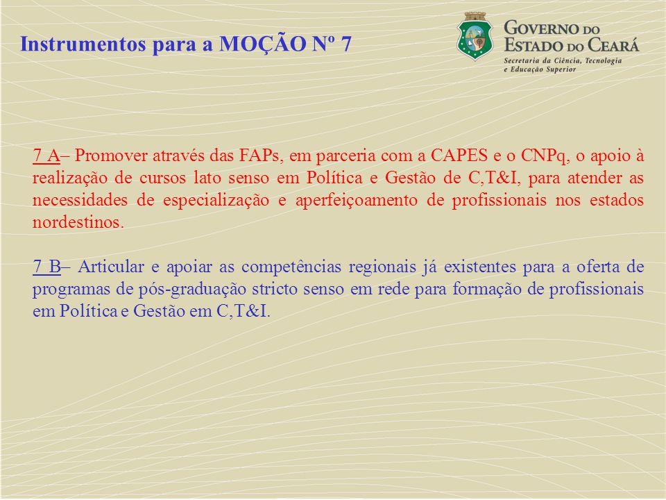 7 A– Promover através das FAPs, em parceria com a CAPES e o CNPq, o apoio à realização de cursos lato senso em Política e Gestão de C,T&I, para atende