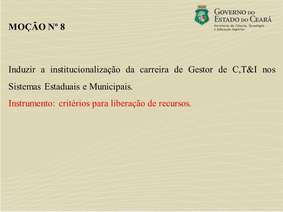 Induzir a institucionalização da carreira de Gestor de C,T&I nos Sistemas Estaduais e Municipais. Instrumento: critérios para liberação de recursos. M