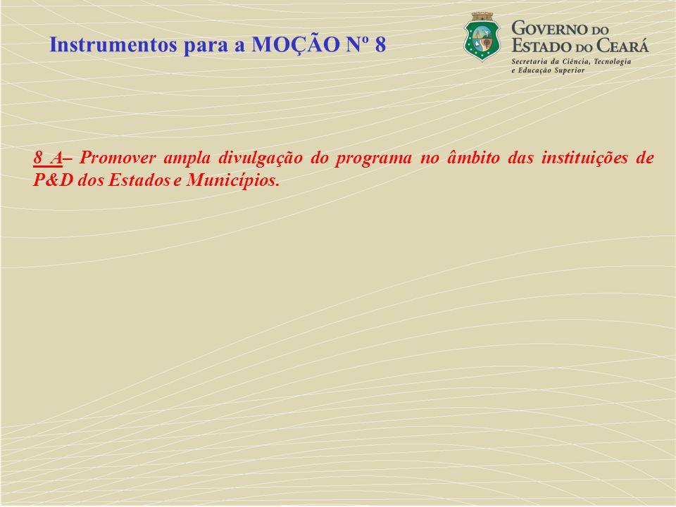8 A– Promover ampla divulgação do programa no âmbito das instituições de P&D dos Estados e Municípios. Instrumentos para a MOÇÃO Nº 8