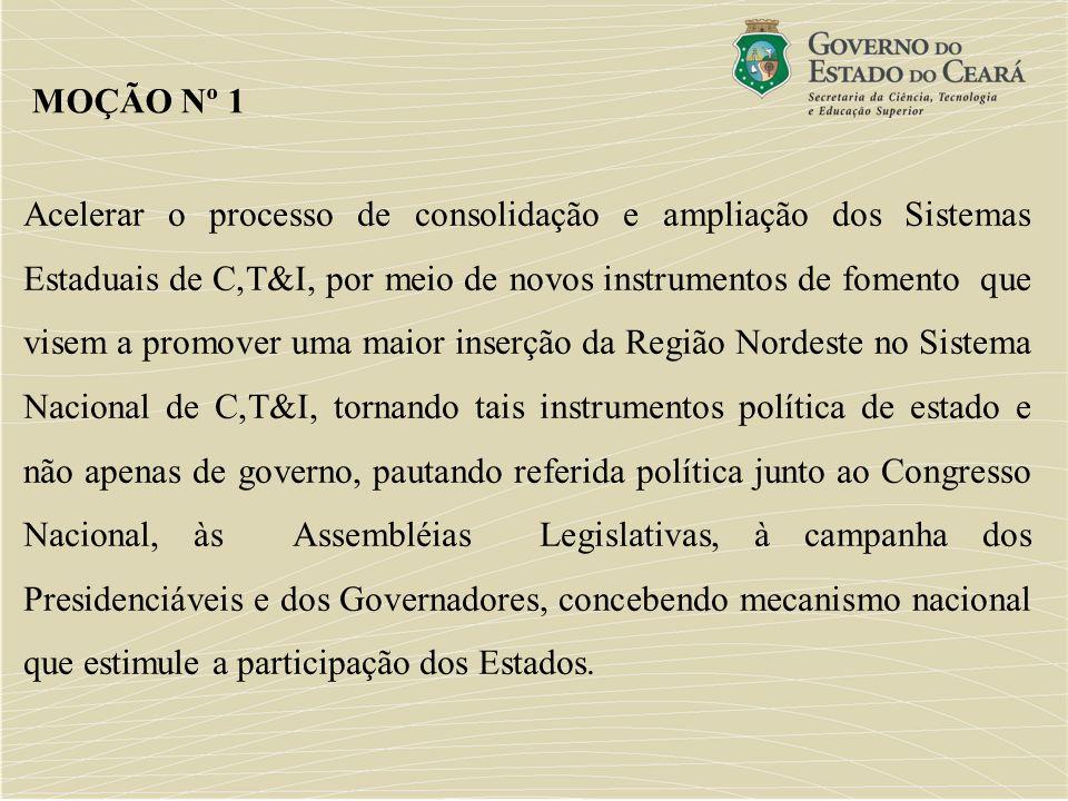 Acelerar o processo de consolidação e ampliação dos Sistemas Estaduais de C,T&I, por meio de novos instrumentos de fomento que visem a promover uma ma