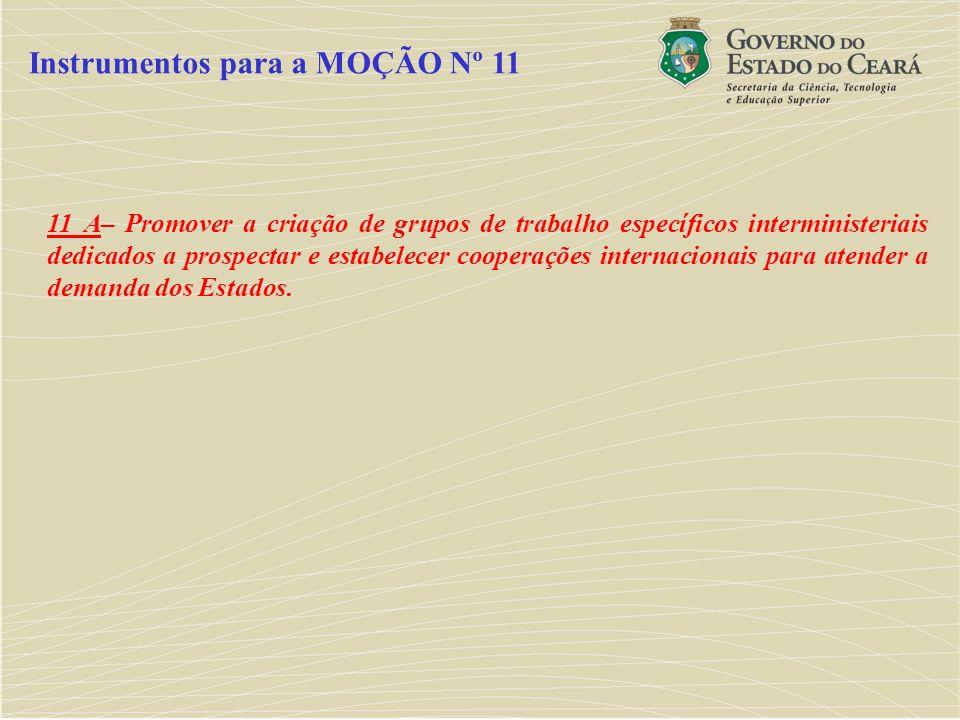 11 A– Promover a criação de grupos de trabalho específicos interministeriais dedicados a prospectar e estabelecer cooperações internacionais para aten