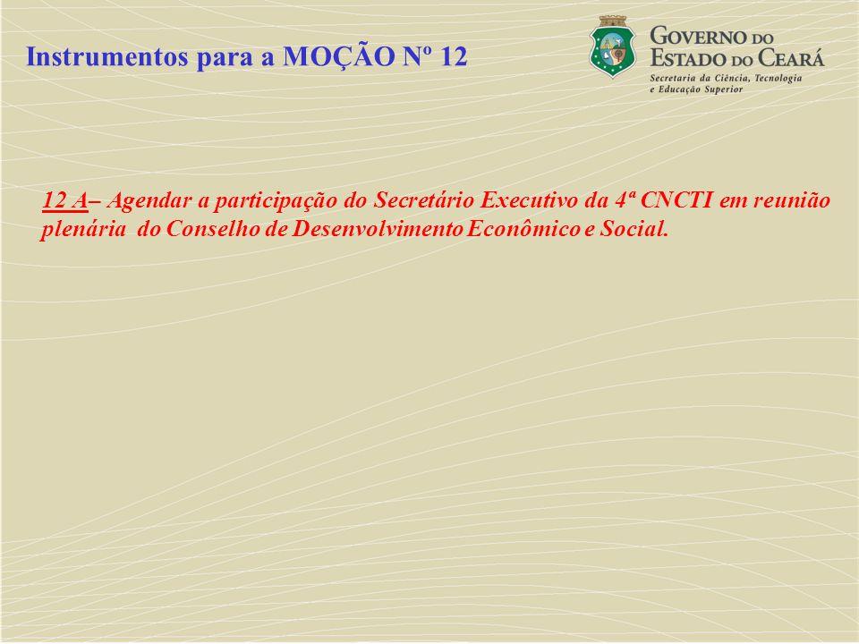 12 A– Agendar a participação do Secretário Executivo da 4ª CNCTI em reunião plenária do Conselho de Desenvolvimento Econômico e Social. Instrumentos p