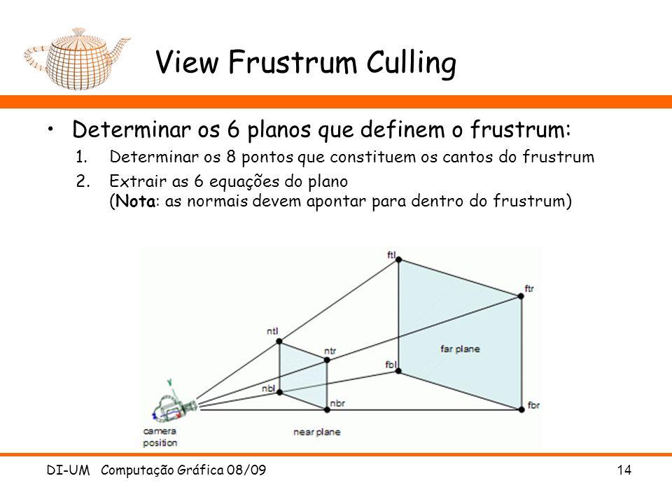 View Frustrum Culling Determinar os 6 planos que definem o frustrum: 1.Determinar os 8 pontos que constituem os cantos do frustrum 2.Extrair as 6 equa