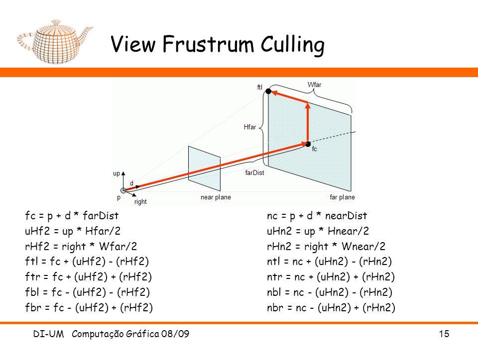View Frustrum Culling DI-UM Computação Gráfica 08/09 15 fc = p + d * farDist nc = p + d * nearDist uHf2 = up * Hfar/2 uHn2 = up * Hnear/2 rHf2 = right