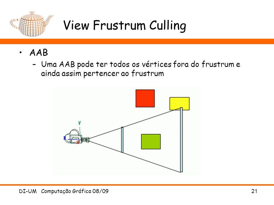 View Frustrum Culling AAB –Uma AAB pode ter todos os vértices fora do frustrum e ainda assim pertencer ao frustrum DI-UM Computação Gráfica 08/09 21