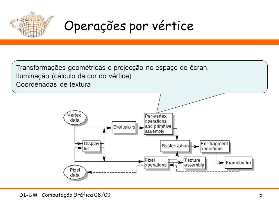 Operações por vértice DI-UM Computação Gráfica 08/09 5 Transformações geométricas e projecção no espaço do êcran. Iluminação (cálculo da cor do vértic