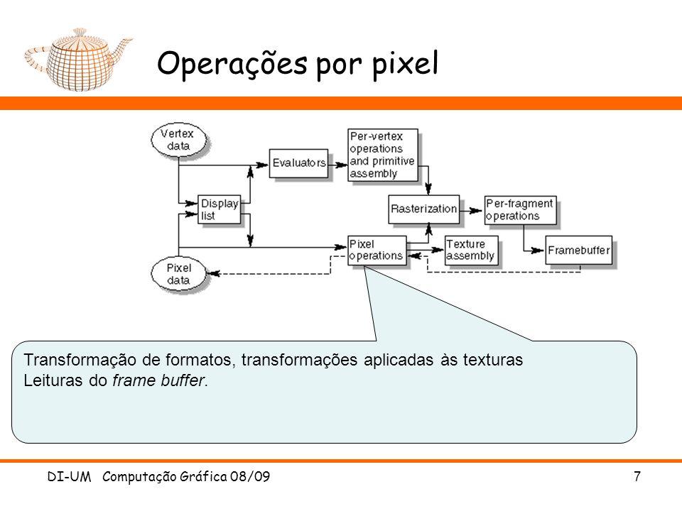 Operações por pixel DI-UM Computação Gráfica 08/09 7 Transformação de formatos, transformações aplicadas às texturas Leituras do frame buffer.