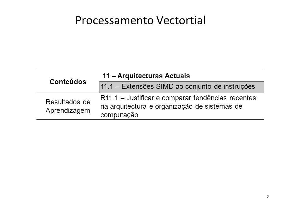 Processamento Vectortial 2 Conteúdos 11 – Arquitecturas Actuais 11.1 – Extensões SIMD ao conjunto de instruções Resultados de Aprendizagem R11.1 – Jus